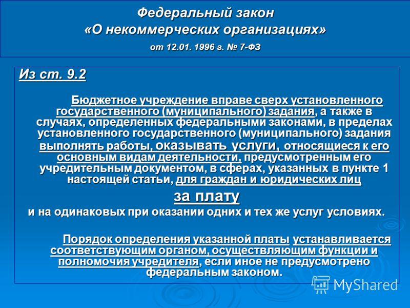 Федеральный закон «О некоммерческих организациях» от 12.01. 1996 г. 7-ФЗ Из ст. 9.2 Бюджетное учреждение вправе сверх установленного государственного (муниципального) задания, а также в случаях, определенных федеральными законами, в пределах установл