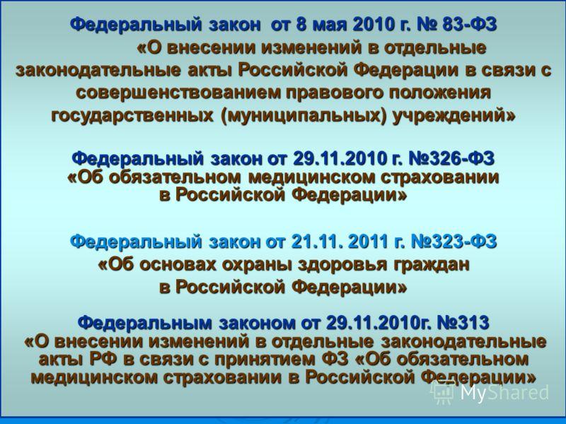Федеральный закон от 8 мая 2010 г. 83-ФЗ «О внесении изменений в отдельные законодательные акты Российской Федерации в связи с совершенствованием правового положения государственных (муниципальных) учреждений» Федеральный закон от 29.11.2010 г. 326-Ф