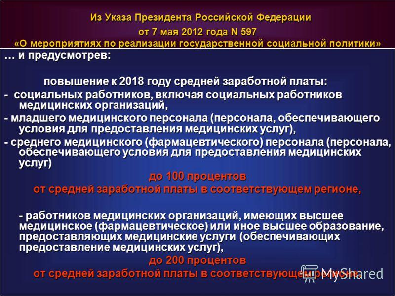Из Указа Президента Российской Федерации от 7 мая 2012 года N 597 «О мероприятиях по реализации государственной социальной политики» Из Указа Президента Российской Федерации от 7 мая 2012 года N 597 «О мероприятиях по реализации государственной социа