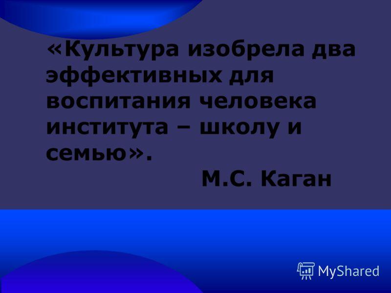«Культура изобрела два эффективных для воспитания человека института – школу и семью». М.С. Каган