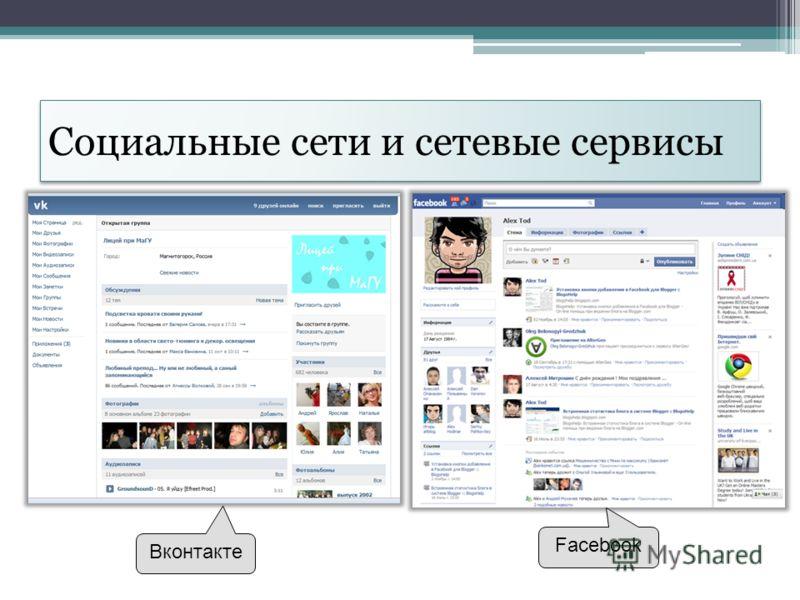Социальные сети и сетевые сервисы Вконтакте Facebook