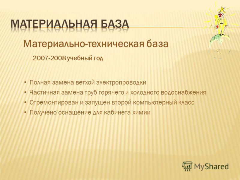 Материально-техническая база 2007-2008 учебный год Полная замена ветхой электропроводки Частичная замена труб горячего и холодного водоснабжения Отремонтирован и запущен второй компьютерный класс Получено оснащение для кабинета химии