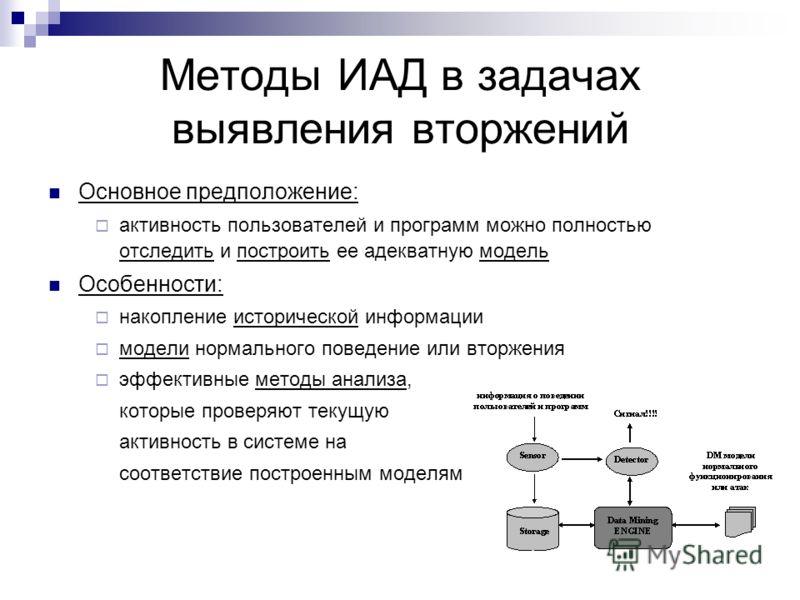 Методы ИАД в задачах выявления вторжений Основное предположение: активность пользователей и программ можно полностью отследить и построить ее адекватную модель Особенности: накопление исторической информации модели нормального поведение или вторжения