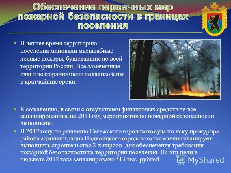 В летнее время территорию поселения миновали масштабные лесные пожары, бушевавшие по всей территории России. Все замеченные очаги возгорания были локализованы в кратчайшие сроки. К сожалению, в связи с отсутствием финансовых средств не все запланиров