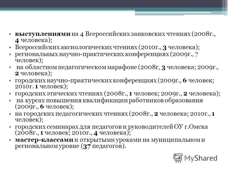 выступлениями на 4 Всероссийских занковских чтениях (2008г., 4 человека); Всероссийских аксиологических чтениях (2010г., 3 человека); региональных научно-практических конференциях (2009г., 7 человек); на областном педагогическом марафоне (2008г, 3 че