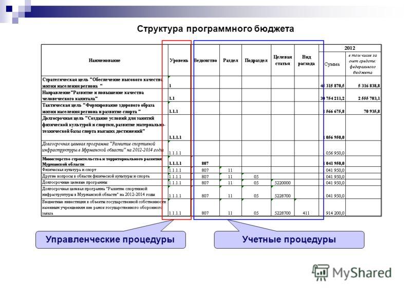 Структура программного бюджета Управленческие процедурыУчетные процедуры