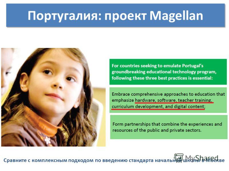 Сравните с комплексным подходом по введению стандарта начальной школы в Москве