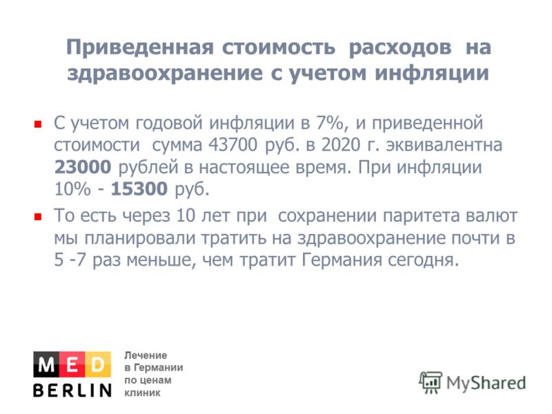 Приведенная стоимость расходов на здравоохранение с учетом инфляции С учетом годовой инфляции в 7%, и приведенной стоимости сумма 43700 руб. в 2020 г. эквивалентна 23000 рублей в настоящее время. При инфляции 10% - 15300 руб. То есть через 10 лет при