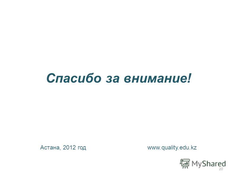 Спасибо за внимание! Астана, 2012 год www.quality.edu.kz 20