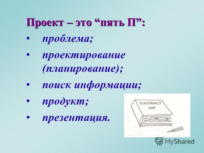 Проект – это пять П: проблема; проектирование (планирование); поиск информации; продукт; презентация.
