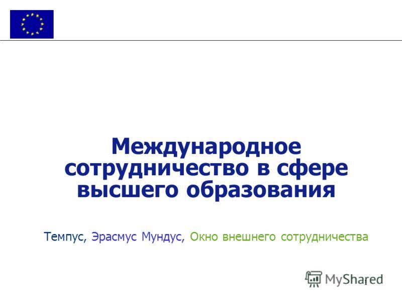 1 Международное сотрудничество в сфере высшего образования Темпус, Эрасмус Мундус, Окно внешнего сотрудничества