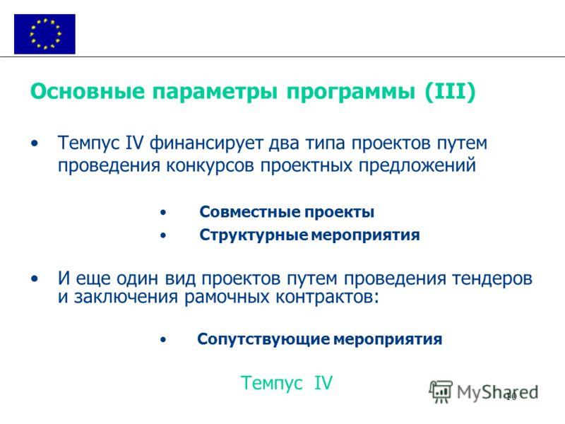 10 Основные параметры программы (III) Темпус IV финансирует два типа проектов путем проведения конкурсов проектных предложений Совместные проекты Структурные мероприятия И еще один вид проектов путем проведения тендеров и заключения рамочных контракт
