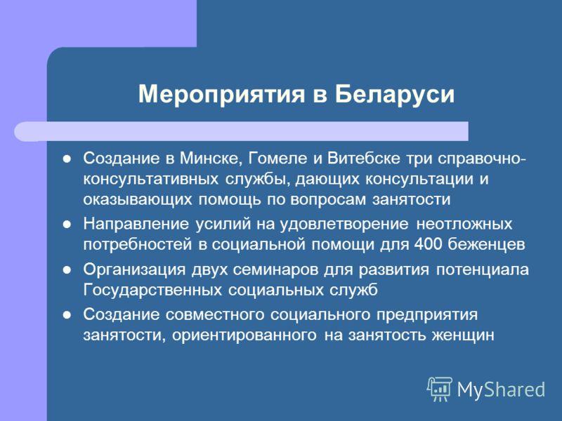Мероприятия в Беларуси Создание в Минске, Гомеле и Витебске три справочно- консультативных службы, дающих консультации и оказывающих помощь по вопросам занятости Направление усилий на удовлетворение неотложных потребностей в социальной помощи для 400