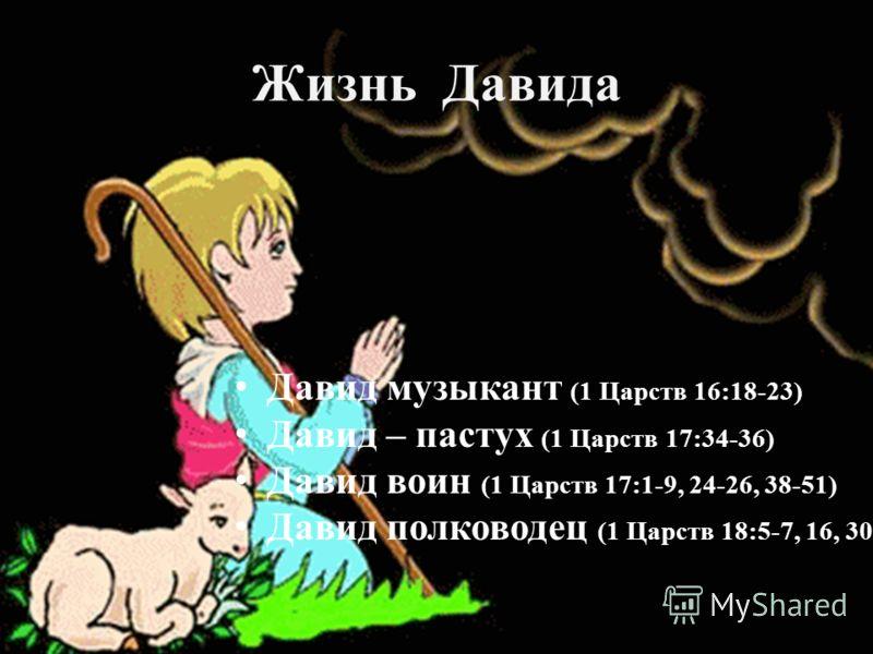 Жизнь Давида Давид музыкант (1 Царств 16:18-23) Давид – пастух (1 Царств 17:34-36) Давид воин (1 Царств 17:1-9, 24-26, 38-51) Давид полководец (1 Царств 18:5-7, 16, 30)