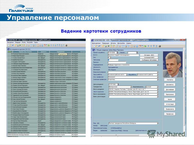 Управление персоналом Ведение картотеки сотрудников