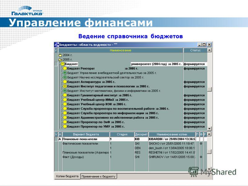 Управление финансами Ведение справочника бюджетов
