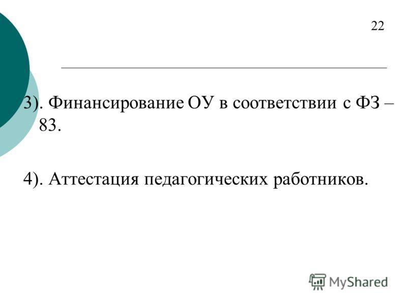 3). Финансирование ОУ в соответствии с ФЗ – 83. 4). Аттестация педагогических работников. 22