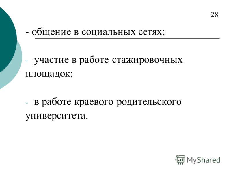 - общение в социальных сетях; - участие в работе стажировочных площадок; - в работе краевого родительского университета. 28