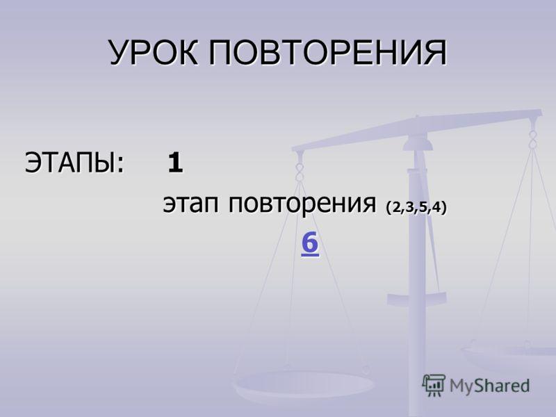 УРОК ПОВТОРЕНИЯ ЭТАПЫ: 1 этап повторения (2,3,5,4) этап повторения (2,3,5,4) 6 6