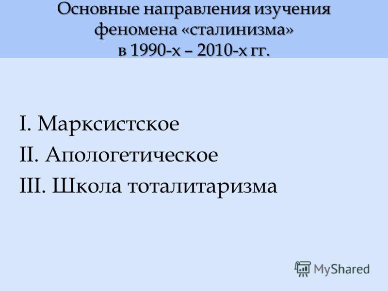 Основные направления изучения феномена «сталинизма» в 1990-х – 2010-х гг. I. Марксистское II. Апологетическое III. Школа тоталитаризма
