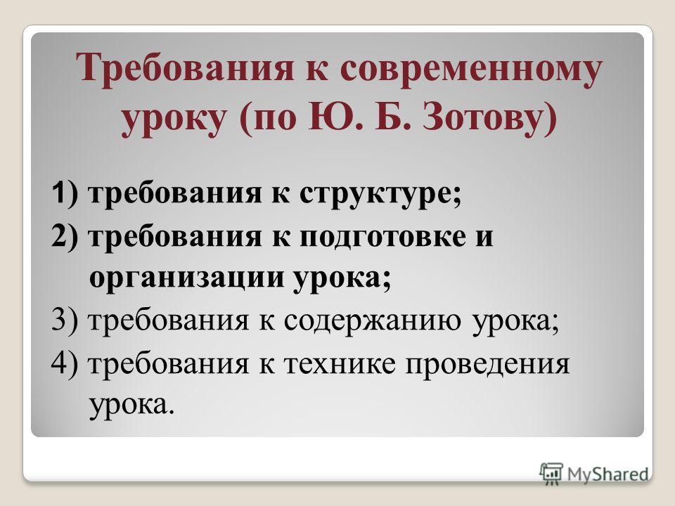 Требования к современному уроку (по Ю. Б. Зотову) 1 ) требования к структуре; 2) требования к подготовке и организации урока; 3) требования к содержанию урока; 4) требования к технике проведения урока.
