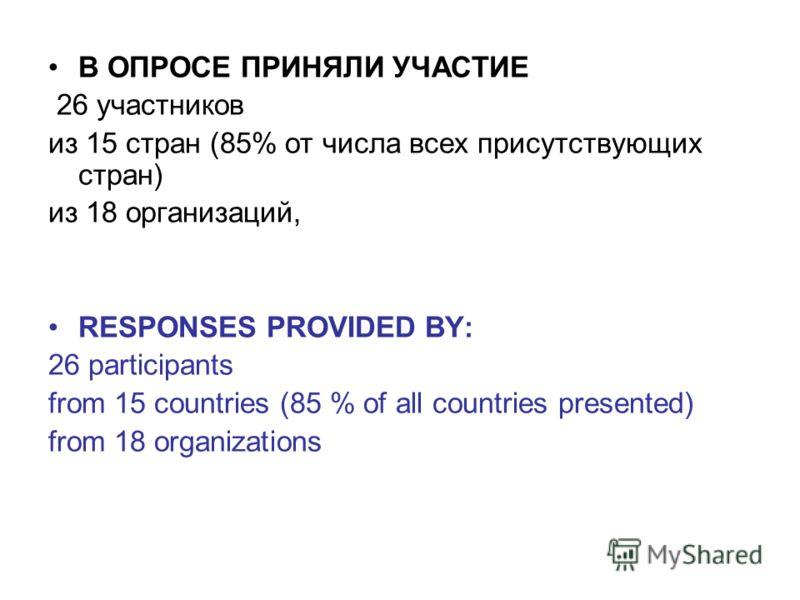 В ОПРОСЕ ПРИНЯЛИ УЧАСТИЕ 26 участников из 15 стран (85% от числа всех присутствующих стран) из 18 организаций, RESPONSES PROVIDED BY: 26 participants from 15 countries (85 % of all countries presented) from 18 organizations