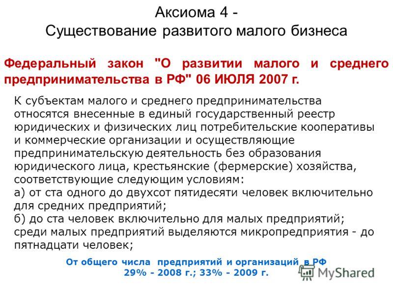 От общего числа предприятий и организаций в РФ 29% - 2008 г.; 33% - 2009 г. Аксиома 4 - Существование развитого малого бизнеса Федеральный закон
