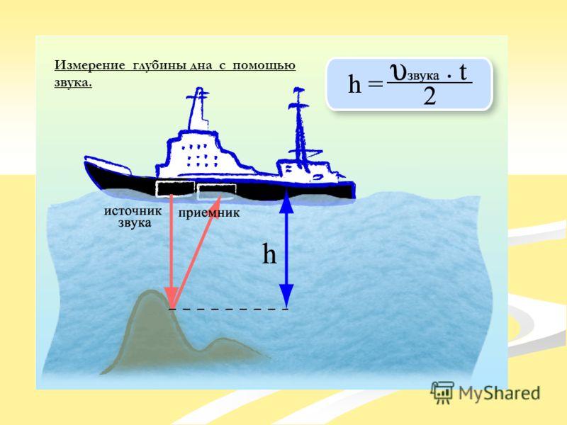 Измерение глубины дна с помощью звука.