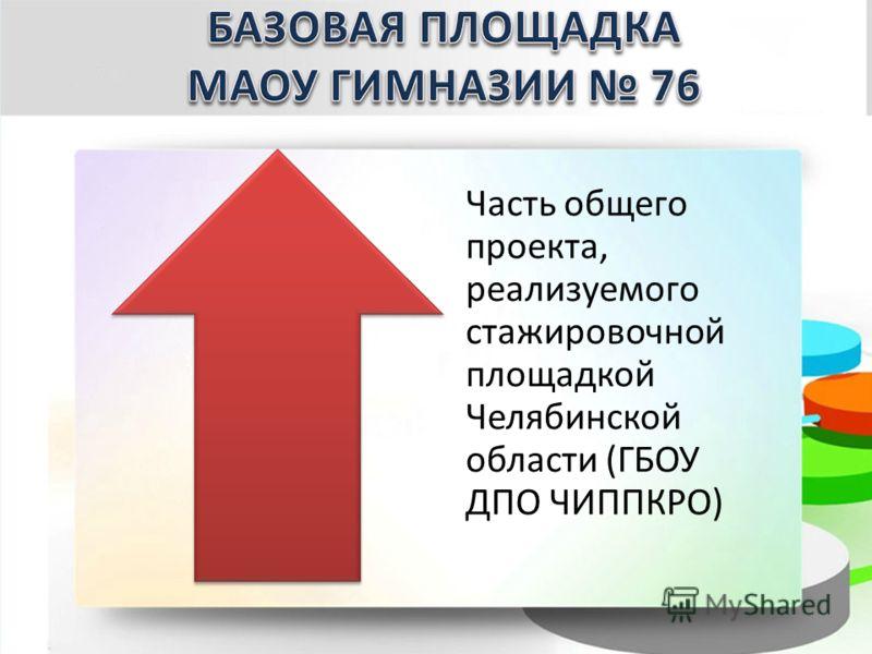 Часть общего проекта, реализуемого стажировочной площадкой Челябинской области (ГБОУ ДПО ЧИППКРО)