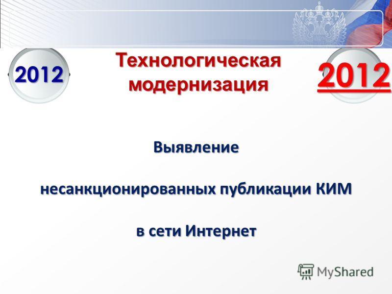 Институт управления образованием РАО Технологическаямодернизация 2012 2012 Выявление несанкционированных публикации КИМ в сети Интернет