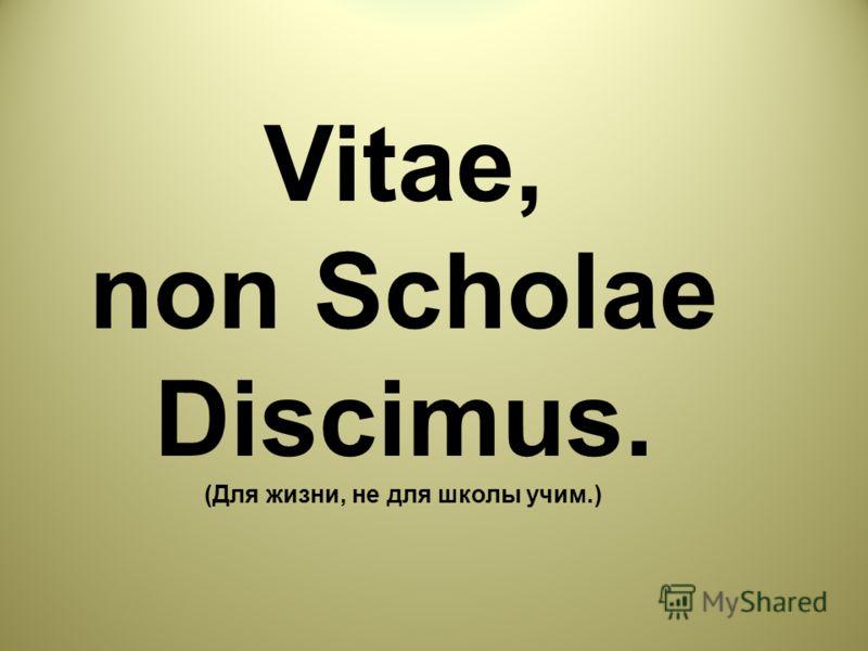 Vitae, non Scholae Discimus. (Для жизни, не для школы учим.)