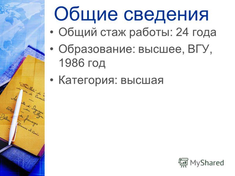 Общие сведения Общий стаж работы: 24 года Образование: высшее, ВГУ, 1986 год Категория: высшая