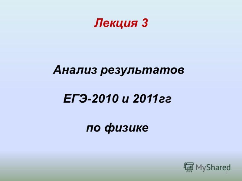 Лекция 3 1 Анализ результатов ЕГЭ-2010 и 2011гг по физике