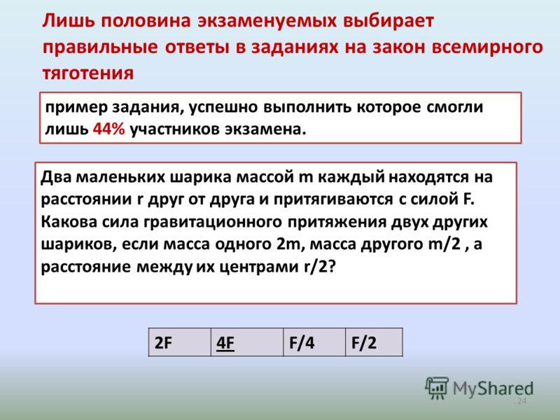 Лишь половина экзаменуемых выбирает правильные ответы в заданиях на закон всемирного тяготения 24 2F4F4FF/4F/2 пример задания, успешно выполнить которое смогли лишь 44% участников экзамена. Два маленьких шарика массой m каждый находятся на расстоянии