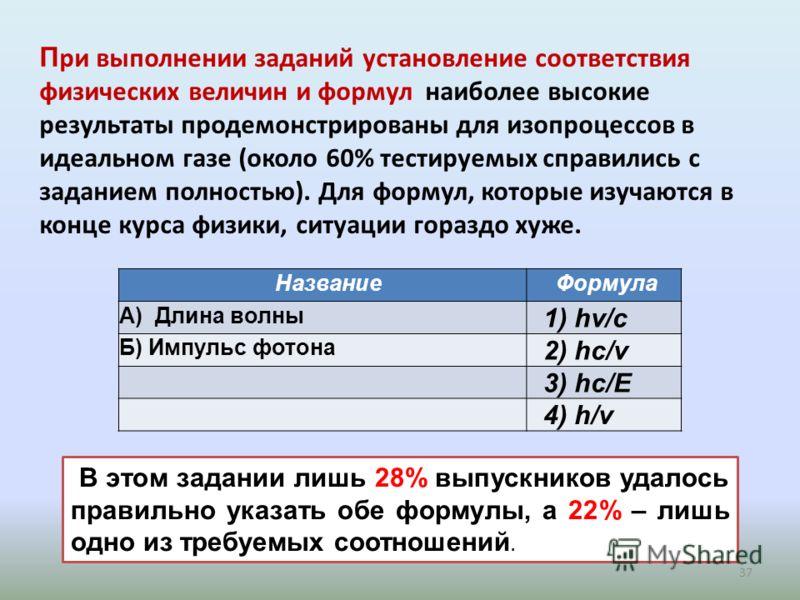 37 П ри выполнении заданий установление соответствия физических величин и формул наиболее высокие результаты продемонстрированы для изопроцессов в идеальном газе (около 60% тестируемых справились с заданием полностью). Для формул, которые изучаются в