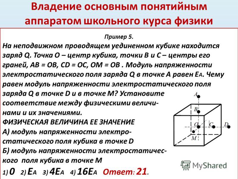 Владение основным понятийным аппаратом школьного курса физики 47. Пример 5. На неподвижном проводящем уединенном кубике находится заряд Q. Точка O – центр кубика, точки B и C – центры его граней, AB = OB, CD = OC, OM = OB. Модуль напряженности электр