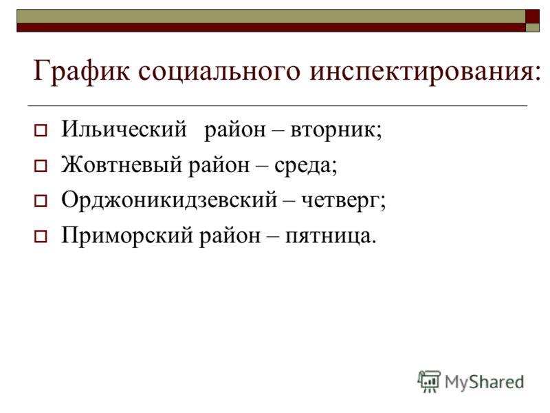 График социального инспектирования: Ильический район – вторник; Жовтневый район – среда; Орджоникидзевский – четверг; Приморский район – пятница.