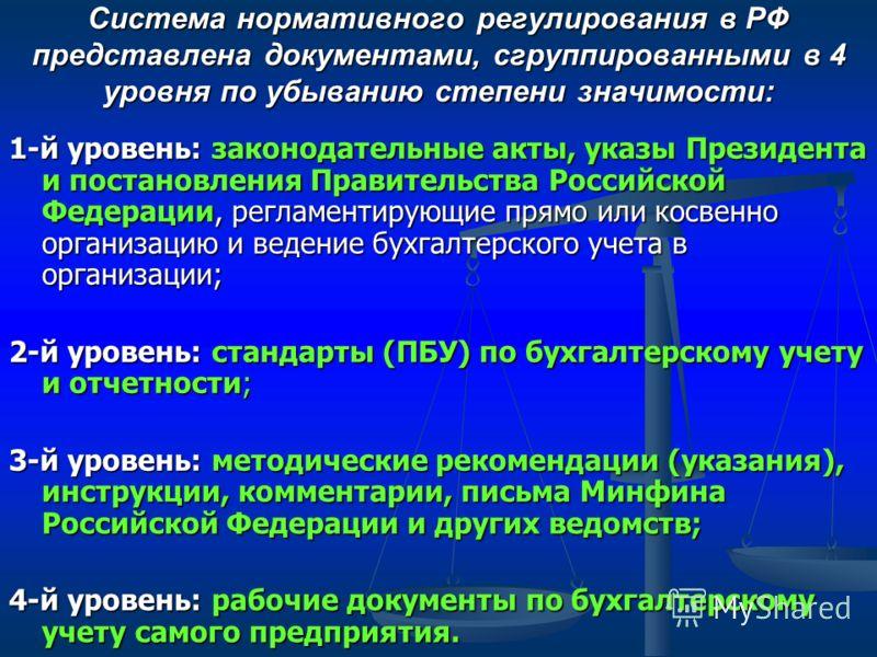 Система нормативного регулирования в РФ представлена документами, сгруппированными в 4 уровня по убыванию степени значимости: 1-й уровень: законодательные акты, указы Президента и постановления Правительства Российской Федерации, регламентирующие пря