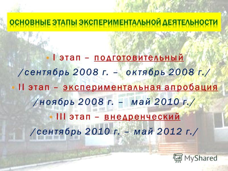 I этап – подготовительный /сентябрь 2008 г. – октябрь 2008 г./ II этап – экспериментальная апробация /ноябрь 2008 г. – май 2010 г./ III этап – внедренческий /сентябрь 2010 г. – май 2012 г./