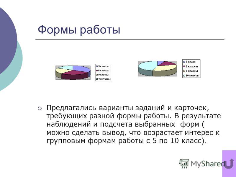 Формы работы Предлагались варианты заданий и карточек, требующих разной формы работы. В результате наблюдений и подсчета выбранных форм ( можно сделать вывод, что возрастает интерес к групповым формам работы с 5 по 10 класс).