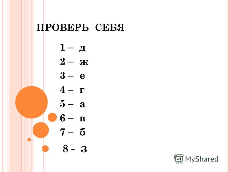 ПРОВЕРЬ СЕБЯ 1 – д 2 – ж 3 – е 4 – г 5 – а 6 – в 7 – б 8 - з