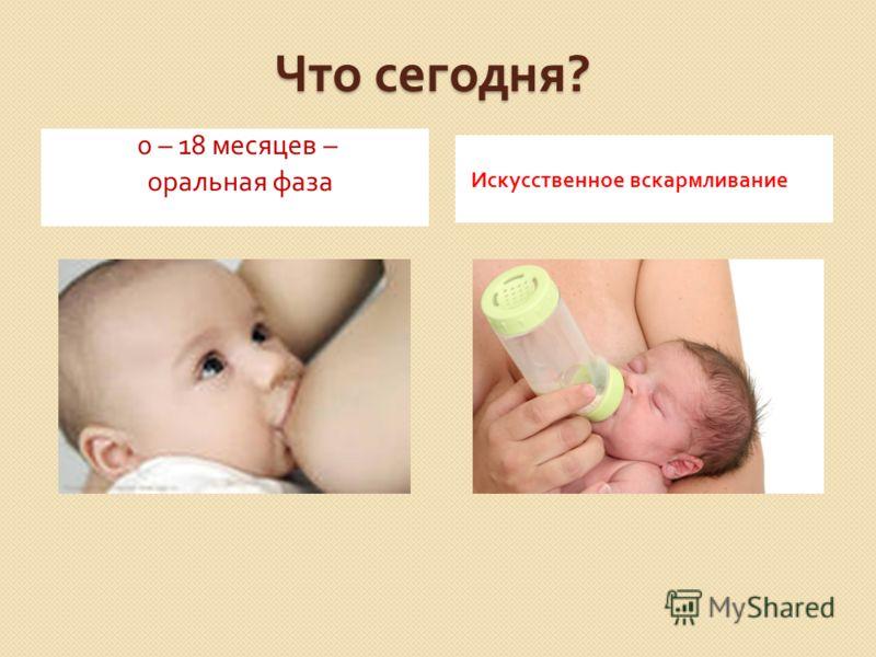 Что сегодня ? 0 – 18 месяцев – оральная фаза Искусственное вскармливание
