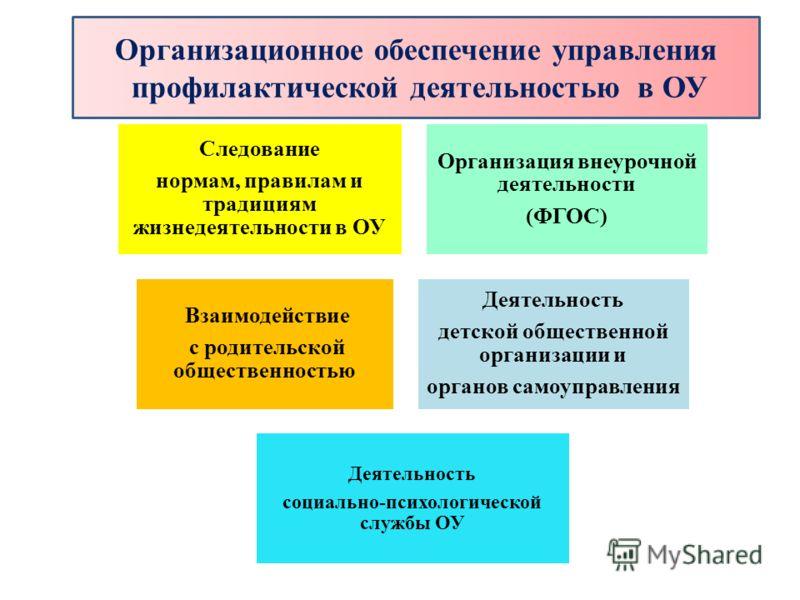 Организационное обеспечение управления профилактической деятельностью в ОУ Следование нормам, правилам и традициям жизнедеятельности в ОУ Организация внеурочной деятельности (ФГОС) Взаимодействие с родительской общественностью Деятельность детской об