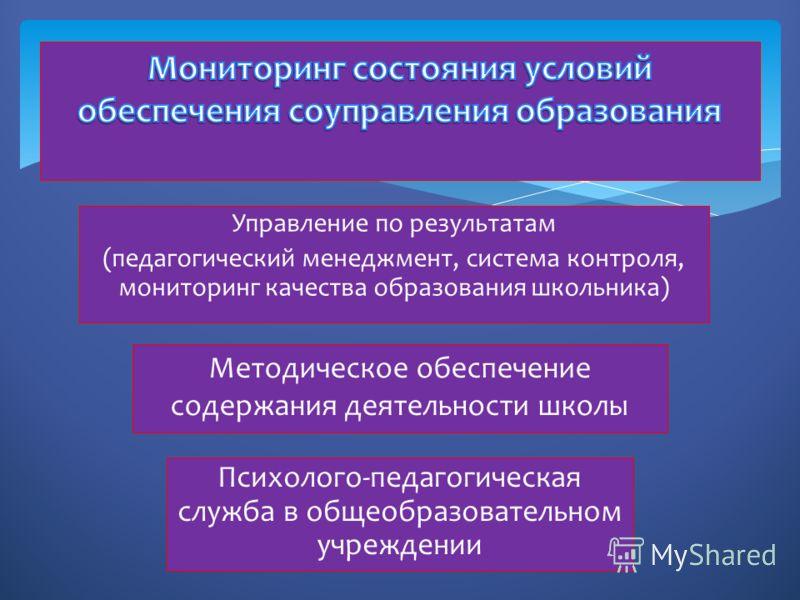 Управление по результатам (педагогический менеджмент, система контроля, мониторинг качества образования школьника) Методическое обеспечение содержания деятельности школы Психолого-педагогическая служба в общеобразовательном учреждении