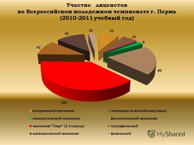 Участие лицеистов во Всероссийском молодежном чемпионате г. Пермь (2010-2011 учебный год)