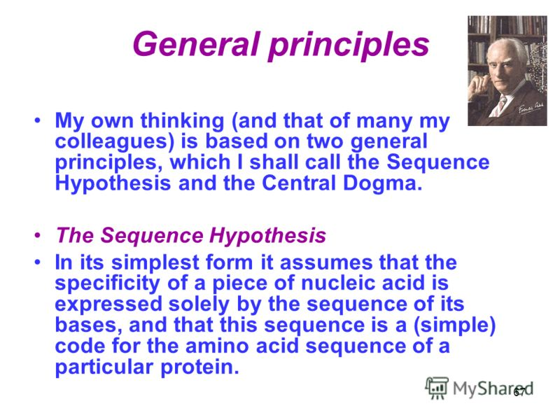 General principles My own thinking (and that of many my colleagues) is based on two general principles, which I shall call the Sequence Hypothesis and the Central Dogma. The Sequence Hypothesis In its simplest form it assumes that the specificity of
