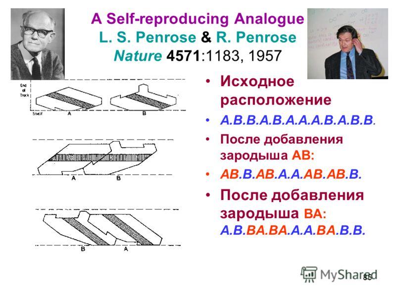 A Self-reproducing Analogue L. S. Penrose & R. Penrose Nature 4571:1183, 1957 Исходное расположение A.B.B.A.B.A.A.A.B.A.B.B. После добавления зародыша AB: AB.B.AB.A.A.AB.AB.B. После добавления зародыша BA: A.B.BA.BA.A.A.BA.B.B. 85