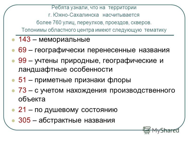 Ребята узнали, что на территории г. Южно-Сахалинска насчитывается более 760 улиц, переулков, проездов, скверов. Топонимы областного центра имеют следующую тематику 143 – мемориальные 69 – географически перенесенные названия 99 – учтены природные, гео