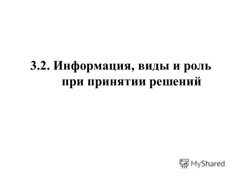 3.2. Информация, виды и роль при принятии решений