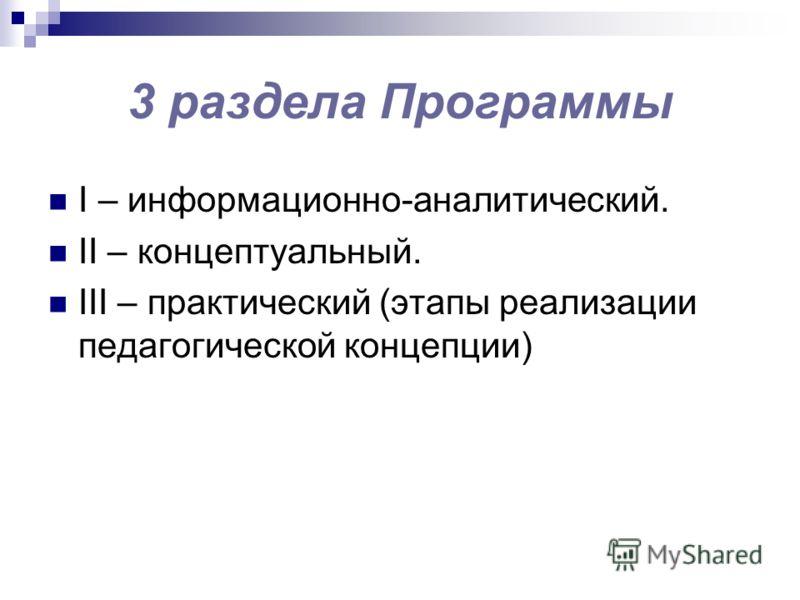 3 раздела Программы I – информационно-аналитический. II – концептуальный. III – практический (этапы реализации педагогической концепции)
